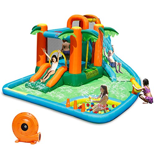 - Costzon Inflatable Bounce House, 7 in 1 Jungle Jump Bounce Pool with Two Slides, Climbing Wall, Basketball Rim, Splash Pool, Water Cannon, Including Repairing Kit, Stakes, Ocean Ball, 780W Air Blower