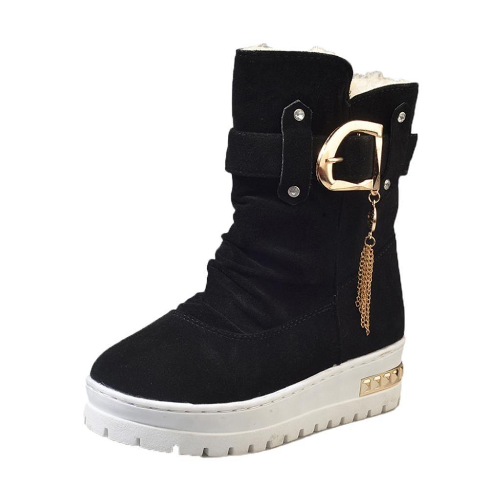 Koly Mujeres Casual Clásico Rebaño Borla Zapatos Nieve Tobillo Botas Invierno Guardar Calentar Boots Slip Botas Nieve Zapatos para mujer Botas Unisex Adulto Women Boots Shoes