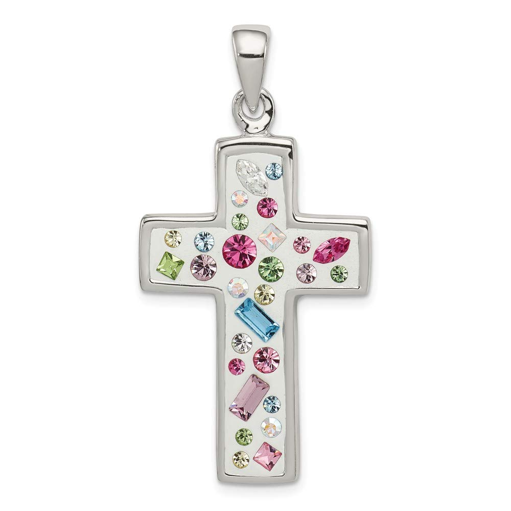 22mm x 37mm Jewel Tie 925 Sterling Silver Multi-Color Stellux Crystal White Cross Pendant