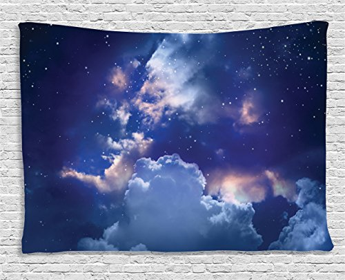 Ambesonne Space Tapestry, Magic Sky View with Star and Clouds Celestial Miraculous World Cosmic Expanse Theme, Wide Wall Hanging for Bedroom Living Room Dorm, 80
