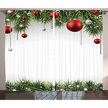 ambesonne christmas curtain panels apartment christmas decorations green by classical christmas ornaments and baubles on pine tree twig tinsel print