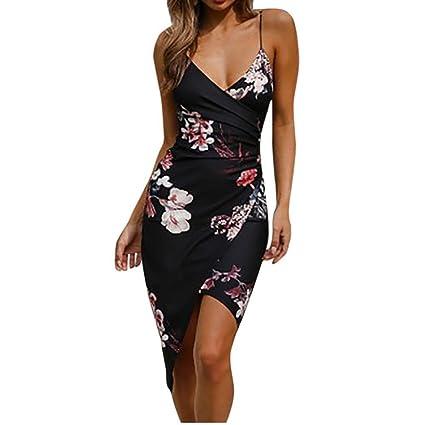 VENMO Vestidos Mujer, Vestidos de Fiesta Cortos de V culleo Mujer,Vestido de Playa Camisola sin Mangas de impresión Sexy de Las Nalgas para Mujeres (Negro, S): Amazon.es: Ropa y accesorios