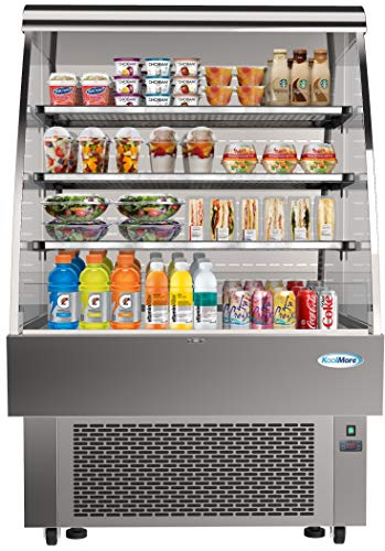 KoolMore Open Air Merchandiser Grab and Go Refrigerator with LED Lighting and Night Curtain - 13.4 cu.ft