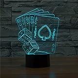 Casino Poker Dice Light 3D LED Lamp Table Desk Bedroom Bedside Lamp Decoration 5V USB Color Change Mood Lamp