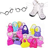 CosCosX 2 Set Round Frame Lensless Retro Cool Doll Glasses Cute Rimmed Eyeglasses,1 Pair PU Leather 1/8 Doll Boots Shoes for 1/6 11 4/5 inch BJD,10 Pcs Doll Shoulder Bag Handbag Purse,Doll Accessories