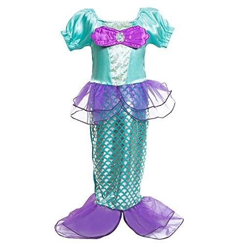 [sophiashopping Girls Kids Little Mermaid Princess Party Dress Costume] (Little Mermaid Tutu Dress)