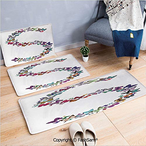 3 Piece Non Slip Flannel Door Mat Capital Letter S Consisting of Various Colored Shaped Butterflies Exotic Animals Decorative Indoor Carpet for bath Kitchen(W15.7xL23.6 by W19.6xL31.5 by W15.7xL39.4) ()