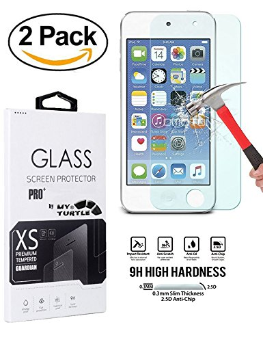 MyTurtle Shockproof Hybrid 3-Layer Hard Silicone Shell Cover with Stylus Pen and Screen Protector for iPod Touch 5th 6th Generation, 2-Pack Tempered Glass