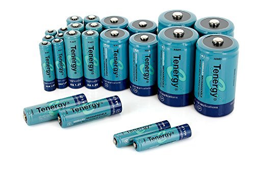 Tenergy High Drain AA AAA C and D Battery, 1.2V Rechargeable NiMH Batteries Combo,8-Pack 2500mAh AA Cells,8-Pack 1000mAh AAA Cells,4-Pack 5000mAh C Cells and 4-Pack 10000mAh D Cell Batteries