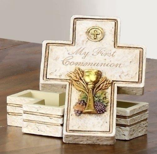 My First Communion Cross Shaped 2.5 x 3.5 Inch Resin Stone Keepsake Box -