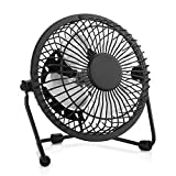 Mini USB Desk Personal Fan,Ultra Quite Table Metal Fan with Enhanced Airflow,360°Rotating ,Desktop Small Portable Cooling Fan for Home Office (Black)
