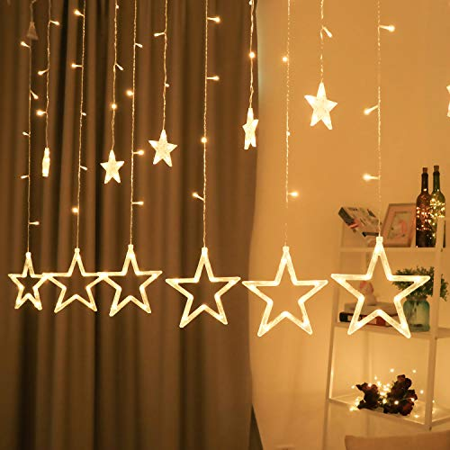 BHCLIGHT 12 Stars 138 LED Star Lights, Valentines Day Decoration Star Curtain Lights Plug in, Curtain String Lights for Bedroom Kids Wedding Party, Indoor Outdoor Decorations