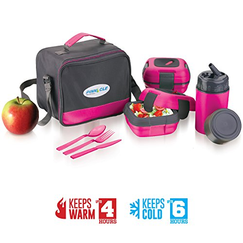 Lunch Box Bag Set for Adults and Kids ~ Pinnacle Insulated Leakproof Thermal Lunch KitLunch BagThermo bottle2 Lunch Containers With NEW Heat Release ValveMatching Cutlery (Pink)