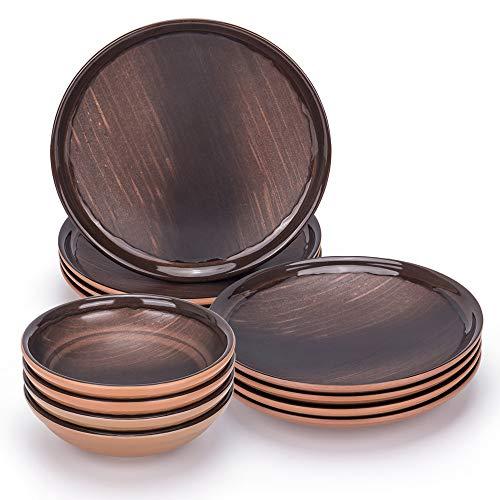 Melamine Dinnerware Set- Unbreakabe Dinnerware Set, Durable Material, For Outdoor and Indoor Use, BPA Free (12, Brown)