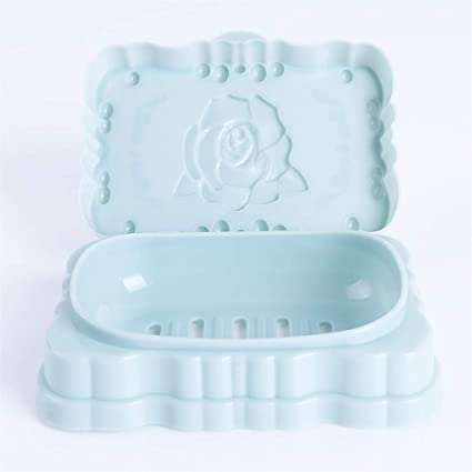 Yunzee soap box for bathroom cute rose carving pattern leachate soap