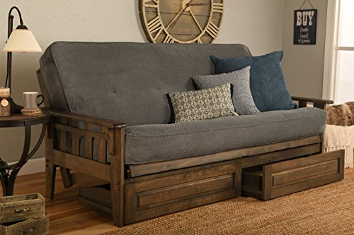 - Jerry Sales Tucson Rustic Walnut Frame and Mattress Set with Choice to add Drawers, 8 Inch Innerspring Futon Sofa Bed Full Size Wood (Marmont Thunder, Frame and Drawers)