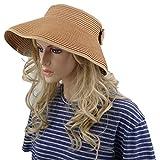 Simes Sun Hat, Foldable Straw Beach Visor (Light Brown)