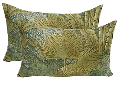 Set of 2 - Indoor / Outdoor Jumbo, Large, Over–sized, Rectangle / Lumbar Chaise Lounge Decorative Throw / Toss Pillows - Green, Tan, Blue Tommy Bahama Bahamian Breeze Surf Fabric