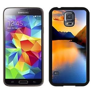 NEW Unique Custom Designed Samsung Galaxy S5 I9600 G900a G900v G900p G900t G900w Phone Case With Sunset Over Lake Mountains_Black Phone Case wangjiang maoyi by lolosakes