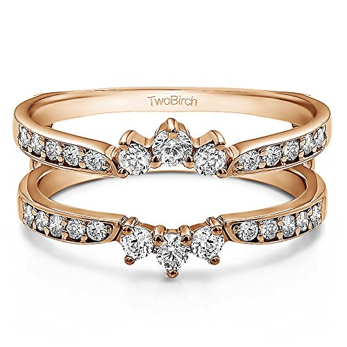 TwoBirch 0.56 ct. Cubic Zirconia Crown Inspired Half Halo Wedding Ring Guard Enhancer in Rose Gold Plated Sterling Silver (1/2 ct. twt.)