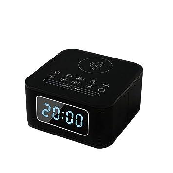 LXJ-YD Reloj Digital de cabecera con Cargador inalámbrico, Reloj Despertador con Radio Cargador inalámbrico Altavoz Bluetooth y Puerto de Carga USB ...