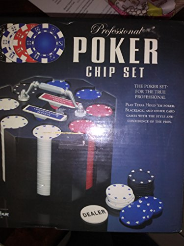 Professional poker chip set 240 heavyweight ships two decks of cards on a rotating base