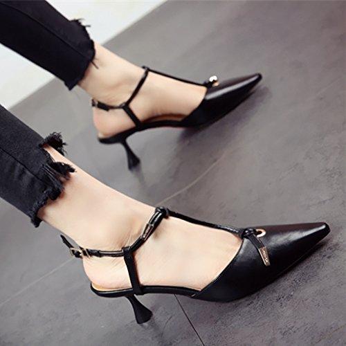 FLYRCX Punta afilada de la mujer sola Zapato Zapato único de estilo europeo de la moda de primavera y verano tacones zapata parte de personalidad a
