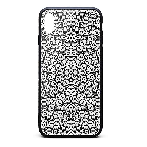 ZaiyuXio iPhone Xs Max Case Skull Black and White Tempered Glass Back Cover Scratch-Resistant Anti-Slip Soft TPU Frame for iPhone Xs MAX 6.5 inch 2018