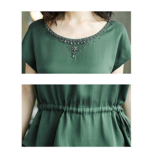 Übergröße Kleider DISSA S2710 Seide Cocktail Midi Gestreift Abendkleid Grün Kleid Damen qpXprw8