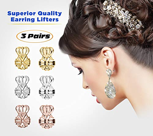 Superior Earring Lifters with Earring Backs | Pack of 3 | Adjustable Hypoallergenic Earring Back Support Lifts | 3 Colors | 1 Pack Each (Gold Plated, Sterling Silver and Rose Gold) | Plus Bonuses