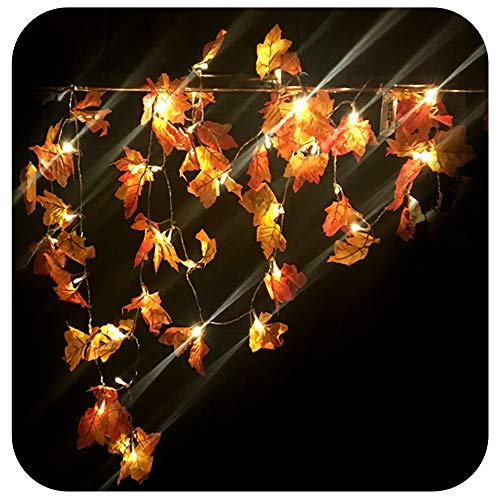 Lighted Autumn Leaf Harvest Fall Leaves Garland Lights String Thanksgiving Décor, 8.2 Feet 20 Lights,Warm White