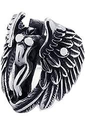 KONOV Biker Vintage Stainless Steel Angel Wing Mens Womens Ring, Black Silver