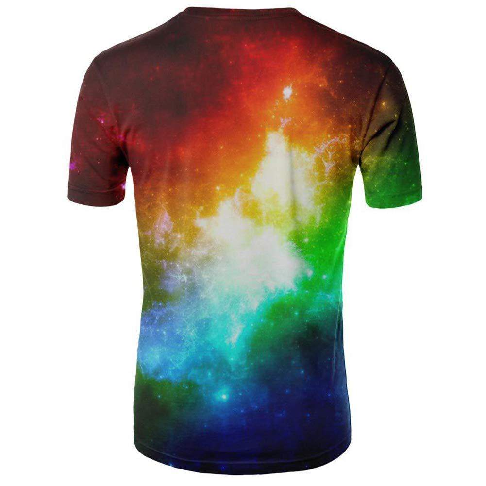DSstyles Colorful 3D Stars Printing Round Collar Short Sleeve T-Shirt