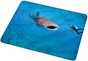Mouse padlarge Shark,Giant Fish Ocean Diving 16x30 inch for laptops