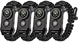 A2S Protection LEDway Paracord Bracelet Tactical Survival Gear Kit 6-IN-1-70% Larger Compass LED SOS Emergency Function Flashlight -Fire Starter Emergency Knife & Whistle (4pcs Set Black)