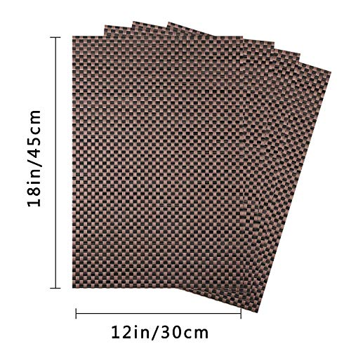 Top Finel Table Mats Sets Crossweave PVC Washable Stain Resistant Durable Dining Table Outdoor,Brown,Set of 8 by Top Finel (Image #3)'