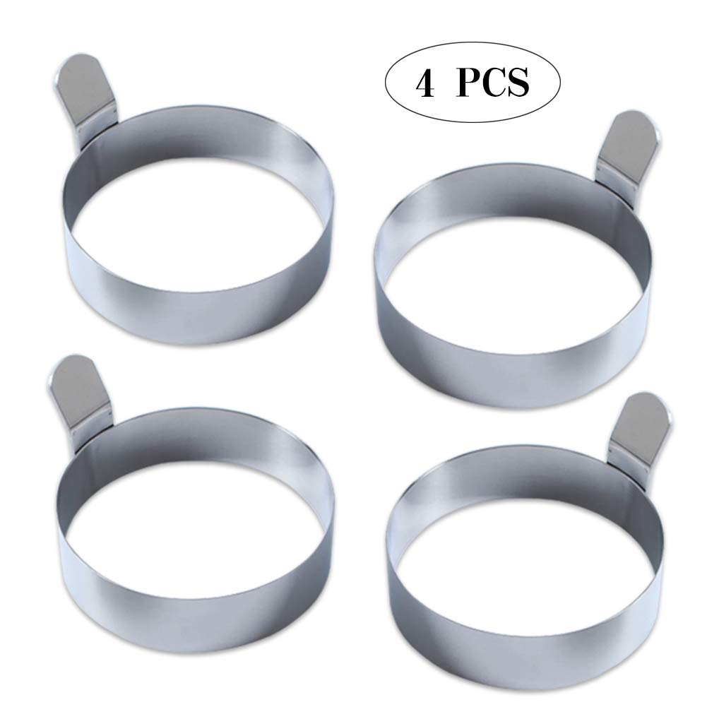 DAGEDA 3 Inch Stainless Steel Omelet Mold Cooking Non Stick Pancake Ring Metal Kitchen Cooking Tool, Thicken stainless steel Egg Ring(4 PCS)