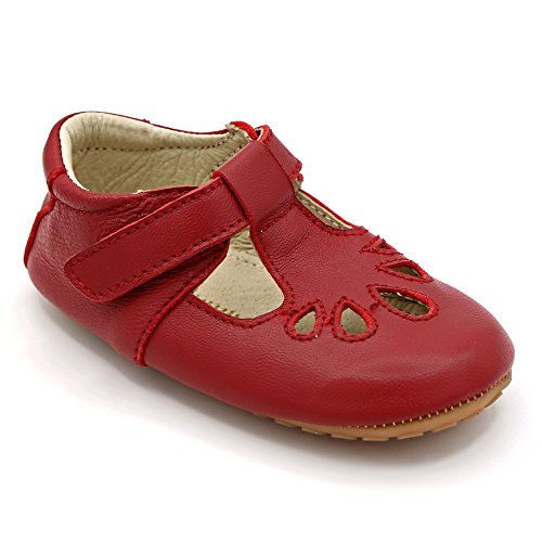 Dotty Fish Premium Leather Baby and Toddler T-Bar Shoes In Red. Non Slip First Walking Shoes by Shimmy Shoes UK Size - Size Uk Guides