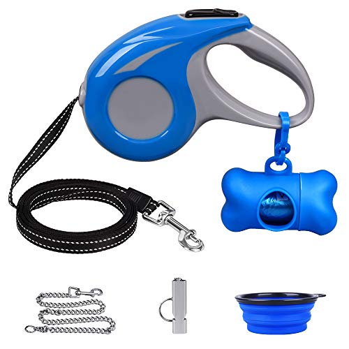 Retractable Dog Leash, Not Broken with stainless leash, 360°Tangle-Free Dog Walking Leash for Small Medium Dogs, Soft Handle One Button Brake & Lock, Bouns Waste Bag Dispenser/Collapsible Bowl/whistle (Leash Dog Animal Retractable)