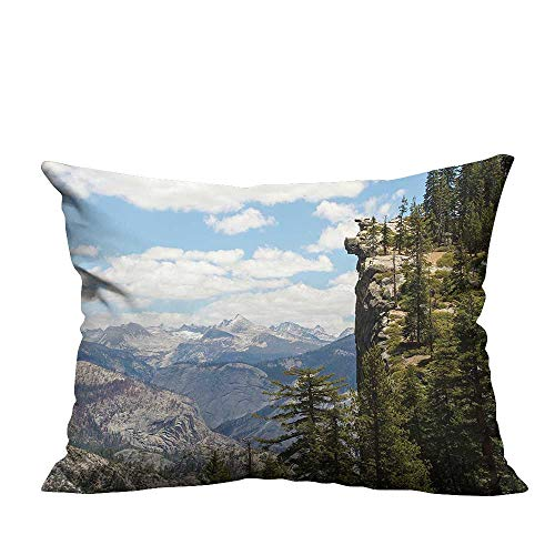 (Decorative Throw Pillow Case Cliffs in Yosemite NATI al Parks Cathedral Peaks Area Green Blue Ideal Decoration(Double-Sided Printing) 26x26)