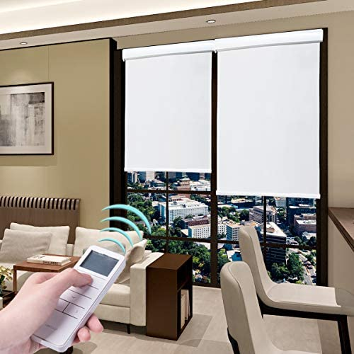 Roller Blinds Motorized Blackout Cordless Thermal Shades with Remote Control Rechargeable Wireless UV Protection Window Blinds White 27 x 72 Inch
