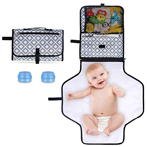 Portable Changing Station, for Newborn Baby Infant - Lightweight Travel Home Diaper Changer Mat Clutch- Waterproof & Foldable Changing Pad Kit with Silicone Cream Container, 3 Pockets (Style B Set)