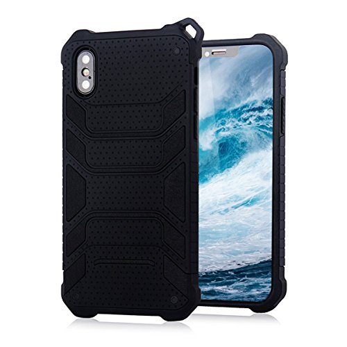 For iPhone X Case/iPhone 10 Case,BKING-BOX [Spider Series]Ultra Slim Armor Shockproof Case with Dual Layer Heavy Duty Protection with Lanyard Hole for iPhone X 10 (2017) (Black)