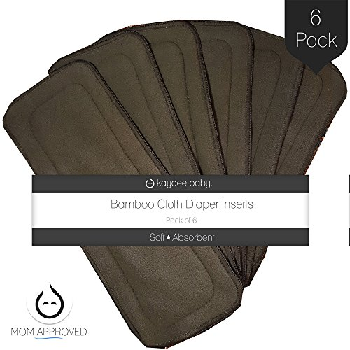 Bumworks Charcoal Rayon Blend with Bamboo 4 Layer Inserts for Cloth Diapers (Set of 6) - Washable and Reusable Diaper Liners - Absorbent and Super Soft Help Protect Sensitive Skin by Kaydee Baby