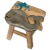 Whale Design Hand Carved Acacia Hardwood Decorative Short Stool