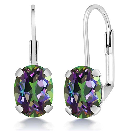 Mystic Topaz Earrings 925 Sterling Silver Oval Green Leverback 3.20 -