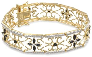 """Yellow Gold Plated Sterling Silver Sapphire and Diamond Accent Flower Bracelet, 7.5"""" from Amazon Curated Collection"""