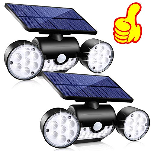 Solar Lights Outdoor, Topmante 30 LED Waterproof Solar Powered Wall Lights with Motion Sensor Dual Head Spotlights IP65 Waterproof 360° Adjustable Solar Motion Lights Outdoor for Front Door Yard Garde (Best Solar Powered Motion Lights)