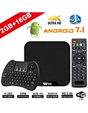 TV Box Android 7.1 - VIDEN W2 Smart TV Box Amlogic S905X Quad Core, 2GB RAM & 16GB ROM, 4K*2K UHD H.265, HDMI, WiFi Media Player, Android Set-Top Box, Mini Teclado Inalámbrico [Versión Mejorada]