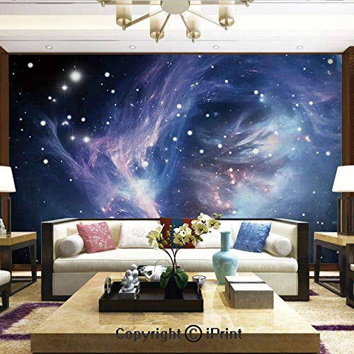 Lionpapa_mural Removable Wall Mural | Self-Adhesive Large Wallpaper,Mysterious Nebula Gas Cloud in Deep Ouuter Space with Star Cluster Universe Solar,Home Decor - 66x96 ()
